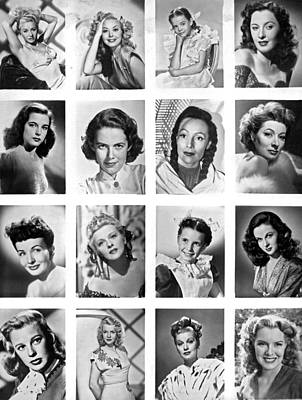 A Collage Of Movie Starlets Portraits Print by Underwood Archives