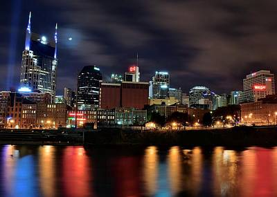 A Colorful Night In Nashville Print by Frozen in Time Fine Art Photography