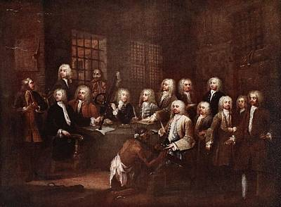 Panel Drawing - A Committee Of The House Of Commons by William Hogarth