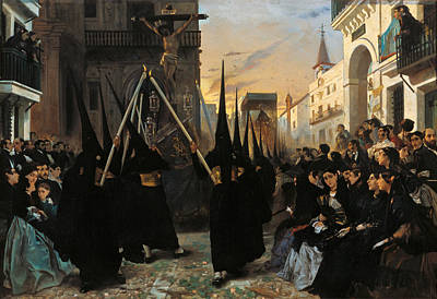Seville Painting - A Confraternity In Procession Along Calle Genova Seville by Alfred Dehodencq