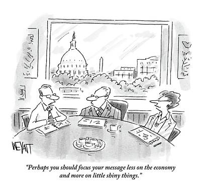 Economy Drawing - A Consultant Speaks To Two Businesspeople by Christopher Weyant