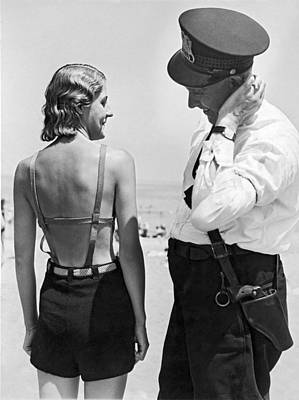 Contemplate Photograph - A Cop Polices Bathing Suits by Underwood Archives