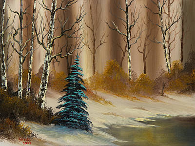 Sawtooth Mountain Art Painting - Russet Winter by C Steele