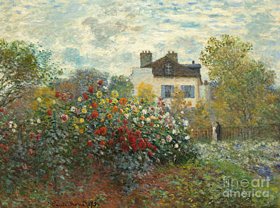 A Corner Of The Garden With Dahlias Print by Claude Monet