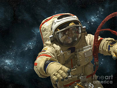 A Cosmonaut Against A Background Print by Marc Ward