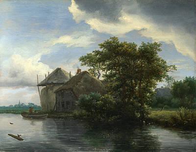 A Cottage And A Hayrick By A River Print by Jacob Isaacksz van Ruisdael