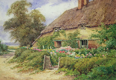Chimneys. Flowers Painting - A Cottage At Hythe by Hetty Richards
