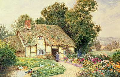 Mallards Painting - A Cottage By A Duck Pond by Arthur Claude Strachan