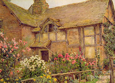 A Cottage Garden In Cholstry Print by Ernest Arthur Rowe