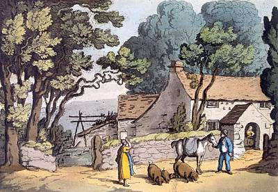 A Cottage In The Duchy Of Cornwall, 1822 Print by Thomas Rowlandson