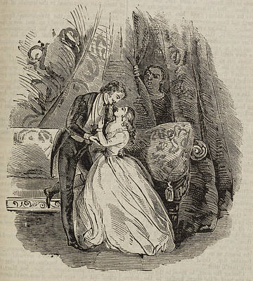 A Couple Embracing Print by British Library