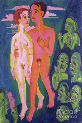 A Couple In Front Of A Crowd Print by Ernst Ludwig Kirchner