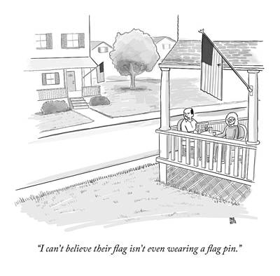 4th July Drawing - A Couple On A Porch Looking Over At A House by Paul Noth