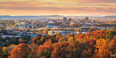 A Crisp Fall Morning In Chattanooga  Print by Steven Llorca