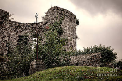 A Cross In The Ruins Print by Olivier Le Queinec