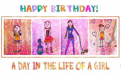 Eiffel Tower Drawing - A Day In The Life Of A Girl 2 - Birthday Card by Barbara Griffin
