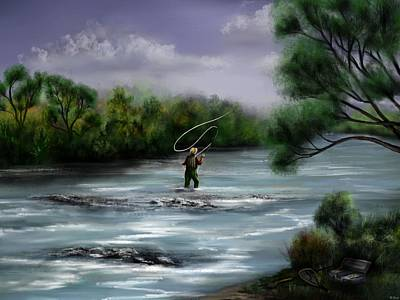 Salmon Painting - A Day On The Stream - Flyfishing by Ron Grafe
