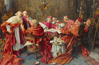 Old Culture Painting - A Debatable Matter by Giuseppe Signorini