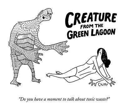 A Deformed Creature From The Green Lagoon Print by Tom Chitty