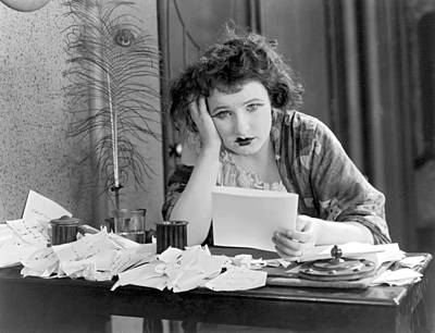 A Depressed Woman At Desk Print by Underwood Archives