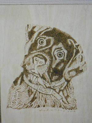 Pyrography Drawing - A Dog Named Wuff by H Leslie Simmons