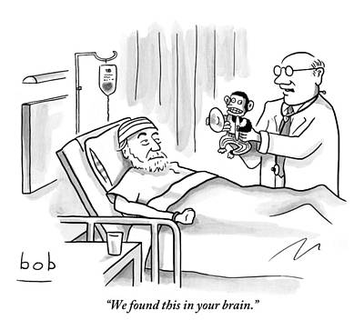Monkeys Drawing - A Doctor Shows A Tambourine Monkey Toy by Bob Eckstein
