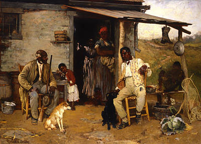 African-american Painting - A Dog Swap by Mountain Dreams