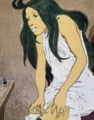 A Drug Addict Injecting Herself Print by Eugene Grasset