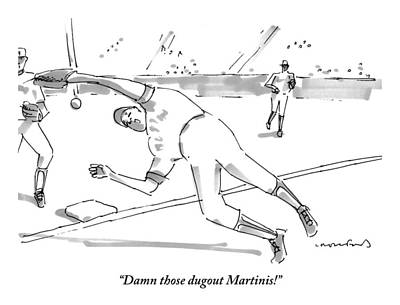 Martini Drawing - A Falling Baseball Player Fails To Catch A Ball by Michael Crawford