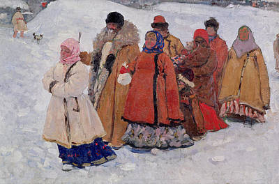 Babushka Photograph - A Family, 1909 Oil On Canvas by Sergej Vasilevic Ivanov