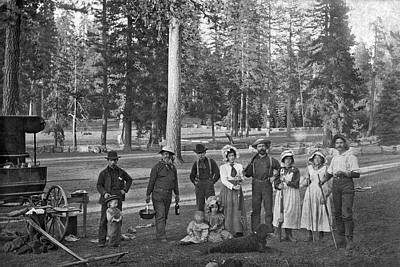 1890s Photograph - A Family At Their Homestead by Underwood Archives