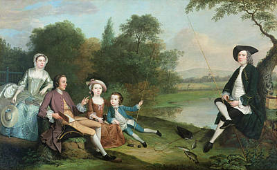 Angling Photograph - A Family Of Anglers, 1749 Oil On Canvas by Arthur Devis