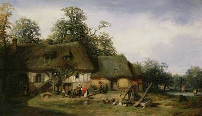 A Farm In Normandy Oil On Canvas Print by Nicolas Louis Cabat