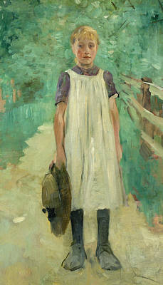 Youthful Painting - A Farmgirl by Thomas Ludwig Herbst