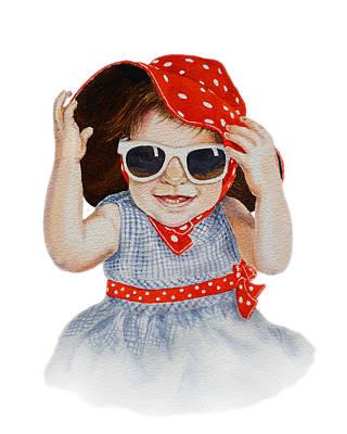 Toddler Painting - A Fashion Girl  by Irina Sztukowski