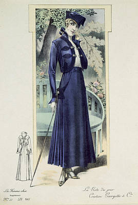 Clothes Clothing Drawing - A Fashionable French Lady by French School