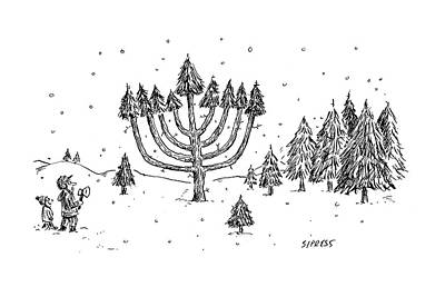 A Father And Child See A Menorah-shaped Christmas Print by David Sipress