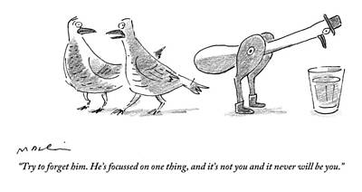 Pigeon Drawing - A Female Pigeon Consoles Another Female Pigeon by Michael Maslin