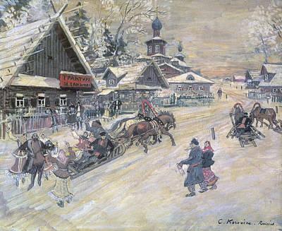 A Festive Walk, Russia Print by Konstantin Alekseevich Korovin