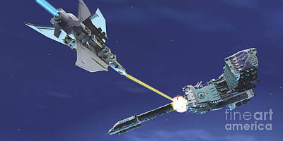 Interplanetary Space Digital Art - A Fighter Spacecraft Blasts A Large by Corey Ford