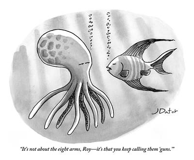 Octopus Drawing - A Fish Addresses An Octopus by Joe Dator