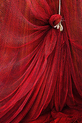 A Fishing Net With A Rope Print by Mikel Martinez de Osaba
