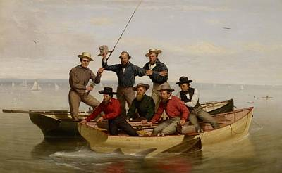 Old Man Fishing Painting - A Fishing Party Off Long Island by Junius Brutus Stearns