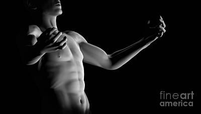 Muscular Digital Art - A Fit Strong Man Sexy Chest by Michal Bednarek