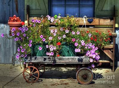 Window Bench Photograph - A Flower Wagon by Mel Steinhauer