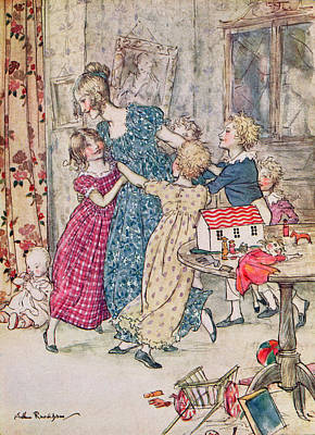Playing Drawing - A Flushed And Boisterous Group, Book Illustration  by Arthur Rackham