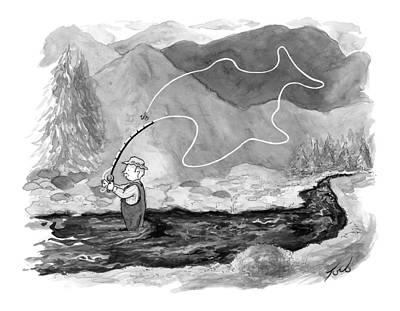 Bite Drawing - A Fly Fisherman Casts Back A Reel That Forms by Tom Toro