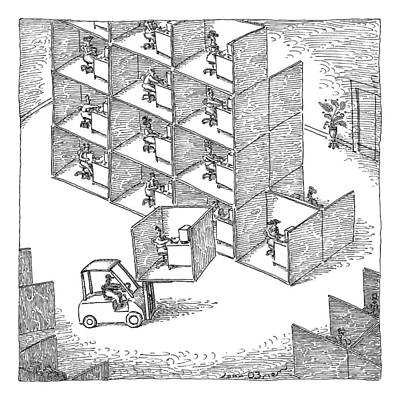 Cubicle Drawing - A Forklift Lifts A Cubicle And Moves To Stack by John O'Brien