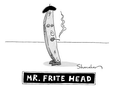 Potato Drawing - A French Fry Drawn Similarly To Mr. Potato Head by Danny Shanahan