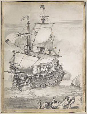 Pierre Puget Drawing - A Frigate At Sea by Pierre Puget